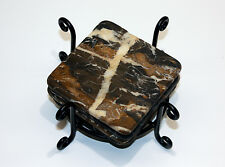 Michelangelo Marble Stone Drink Coasters 1 set of four w/Wrought Iron holder
