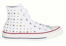 CONVERSE White Canvas SILVER GOLD STUDS High Top CHUCK TAYLOR SNEAKERS Women's 9