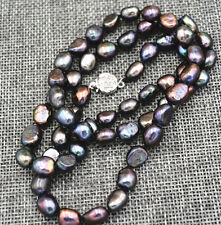 """Real 9-10MM Black Natural Baroque Pearl Necklace 18"""" AA"""