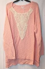 NEW WOMENS PLUS SIZE 4X 28W PINK PULLOVER SWEATER TOP W BEAUTIFUL LACE DETAILING