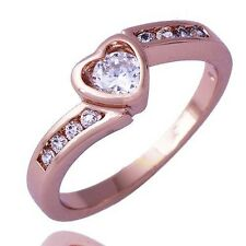 Stylish Womens Rose Gold Filled Clear CZ Stone Heart Band Ring Size 6