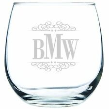 Engraved Personalized Customized Stemless Red Wine Glass Monogram or Your Specs