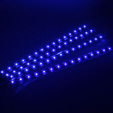 Blue 4pcs 30CM/15 LED Car Motors Truck Flexible Strip Light Waterproof 12V