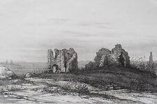Lithographie XIXème - Ruines de Lansac - Mlle Alaux - J.Philippe