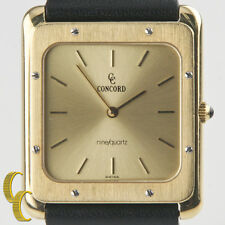 Concord Mariner 18k Yellow Gold Men's Rectangular Watch Leather Band Gift 4 Him!