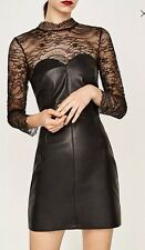 NWT Zara Collection Women Sexy Black Faux Leather Lace Dress XS