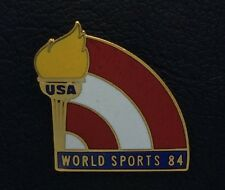 Olympic Pin~USA~WORLD SPORTS 84~Torch~Gold Tone~Red White & Blue