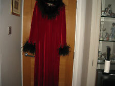 INTIMATES WOMENS RED VELOUR DRESS WITH REAL FEATHERS,UK 14-16,G.C