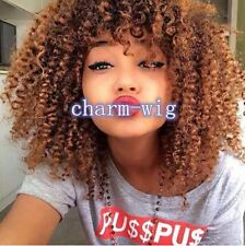 Towheaded Afro Curly Capless Stylish Medium Brown Synthetic Wig For Women