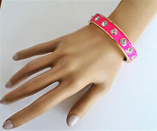 Sexy Neon Pink Crystal Studded Bangle Bracelet with Hinged Close
