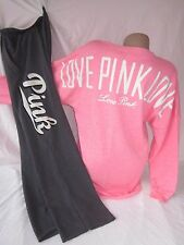 Nwt Victoria's Secret 2PC Track Suit Boyfriend Sweatpants Varsity Shirt PiNK