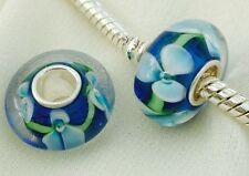Detailed Forget Me Not Blue Flower Bead Handmade Lampwork Glass 925 Silver Core