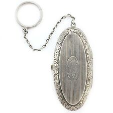 ANTIQUE Sterling Silver Oval Dance Purse Coin Holder 1920s Art Deco Monogrammed