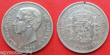 SPAIN , 5 PESETAS KING  ALFONSO XII  1876(76) DE-M ( AU. 3 ) , RARE