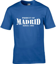 Producto De Madrid España Hombre Camiseta lugar Regalo de Cumpleaños año de elección
