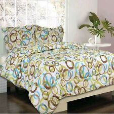 NEW 4 pc Brampton Green/ Brown/ Blue Bed in a Bag, TWIN Size Kids Comforter Set