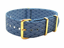 HNS ZULU Double Graphic Indigo Sashiko Waves Pattern Nylon Strap Gold Buckle