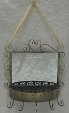 French Provincial Rustic Jewellery Or Key Holder With Mirror & 5 Hooks Wall Rack