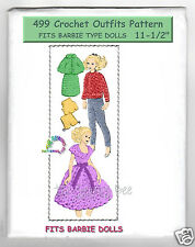 "Fits Barbie & other 11"" Dolls Crochet  mail order Doll Pattern Wardrobe 499"