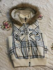 Charlotte Russe WOMENS SMALL Blue Brown White Plaid Vest Faux Fur Hood ADORABLE