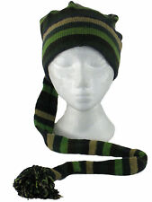 GREEN STRIPE COTTON HIPPIE FESTIVAL TAIL HAT Slouch Beanie One Size FREE P&P