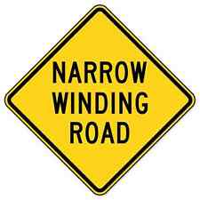 """Narrow Winding Road Road Sign car bumper sticker 4"""" x 4"""""""