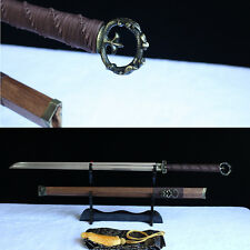 Fully Hand made Damascus folded steel rosewood chinese 环首刀 sword battle ready.