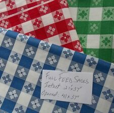 Vintage Full Intact Feed Sacks 3 Sack LOT Red, Blue & Green Check READ AD