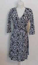 Diane von Furstenberg New Julian two Halo Petals black white 2 wrap dress DVF