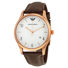 Armani White Dial Brown Leather Mens Watch AR1915
