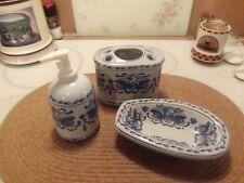 vanity set 3 pcs. blue & white, tootbrush holder soap dish and lotion dispenser