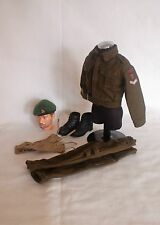 1/6 WW2 British Royal Marines Commando 45 Commando uniform beret & badge lot