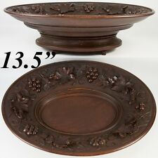 """Antique Black Forest 13.5"""" x 10.5"""" Oval Raised Centerpiece, Fruit Tray Music Box"""