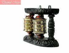 """7"""" Wall hanging, 2 IN 1 WOODEN HANDCARVED FROM NEPAL ,Tibetan Prayer,thamel Mart"""