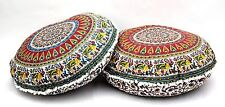 2 PC Elephant Mandala Round Tapestry Pillow Cover Indian Floor Cushion Cover