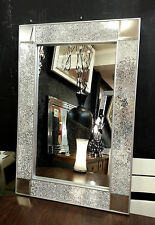 Crackle Design Wall Mirror chunky Silver Frame Mosaic Glass 90X60cm Bling look!!