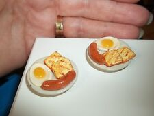 WHAT'S FOR BREAKFAST - EGGS, TOAST AND SAUSAGE -  DOLL HOUSE MINIATURE
