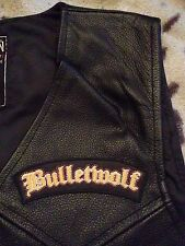Bulletwolf Metal Black Leather Biker Vest Waistcoat Double Shots Of Rock 'n Roll