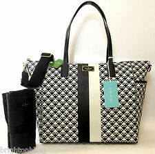 KATE SPADE ADAIRA PENN PLACE BABY DIAPER BAG BLACK WHITE SPADES NWT New 4 2016