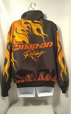 Rare Vintage 90's Snap-On Tools Racing Nylon Jacket Red Flames Mens Sz Large