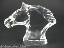 Large Crystal Horse Head Paperweight - Made in France by Baccarat