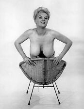 1960s Pinup DD Breasts Paula Page Leaning over Wicker Chair 8 x 10 Photograph