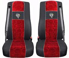 Schonbezüge Autositzbezüge 2 VELOUR für LKW DAF XF 105 XF 106 Schwarz Rot TIR