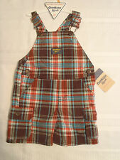 Osh Kosh B'Gosh Baby Boys 12 Month Brown Plaid Short Overall Outfit NWT
