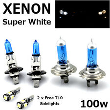 H1 H7 100w SUPERWHITE XENON Upgrade Headlight Bulbs Set Hi Lo Beam IV + T10 5SMD