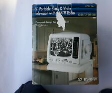 "Spectra 5"" Black & White Portable Vintage TV with AM/FM Radio"