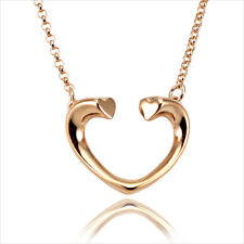 """18K 18CT Rose Gold Plated Open Heart Pendant Short Chain Necklace 16"""""""