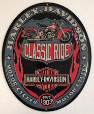 Ande Rooney HARLEY DAVIDSON CLASSIC RIDE Tin HD Motorcycle Garage Oval Sign