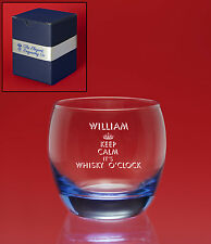 Personalised Engraved ICE BLUE Whisky/Brandy Tumbler Glass-Gift Box- Any Message