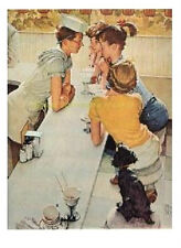 "Norman Rockwell drugstore Soda jerk print ""THE SODA FOUNTAIN"" 11""x15"" Pepsi Coke"